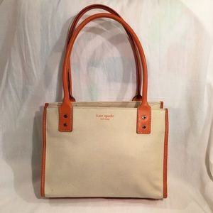 KATE SPADE orange leather and canvas tote